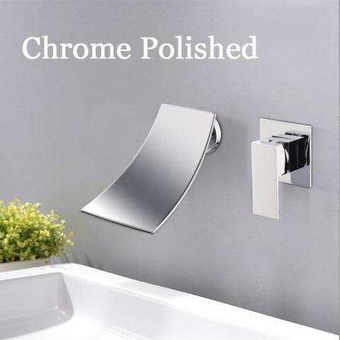 Wall Mounted Waterfall Bathroom Faucet Wall Mounted Waterfall Bathroom Faucet fluxurie.com Chrome Round Valve