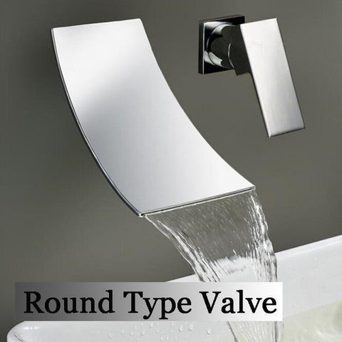 Wall Mounted Waterfall Bathroom Faucet Wall Mounted Waterfall Bathroom Faucet fluxurie.com Round Valve Chrome