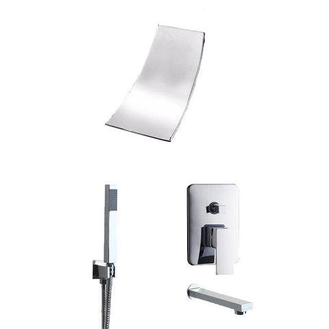 Waterfall Black or Chrome Wall Mounted Shower System - PIERA Piera FLUXURIE Chrome