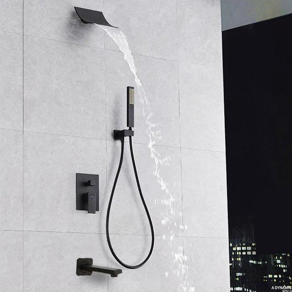 Waterfall Black Wall Mounted Shower System - PIERA Piera FLUXURIE.COM