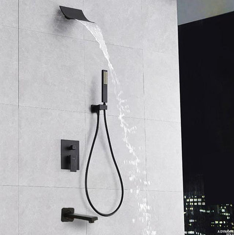 Waterfall Black Wall Mounted Shower System - PIERA Piera FLUXURIE.COM Default Title