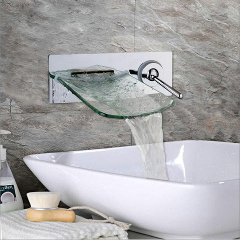 Waterfall Glass Spout Wall Mounted Chrome Faucet Waterfall Glass Spout Wall Mounted Chrome Brass Faucet FLUXURIE.COM
