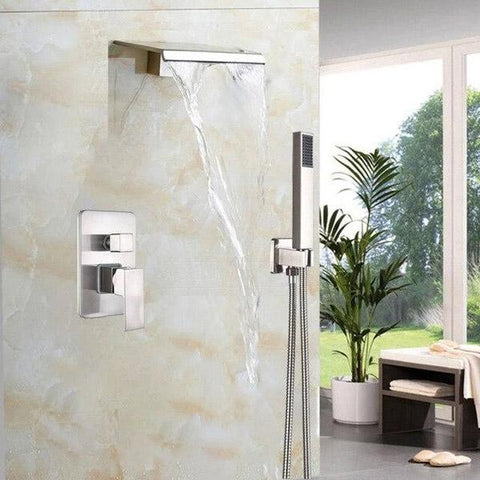 Waterfall Wall Mounted Shower System - GUENDA Guenda FLUXURIE.COM Brushed Nickel
