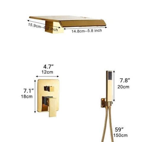 Waterfall Wall Mounted Shower System in Gold - AURA Aura FLUXURIE.COM