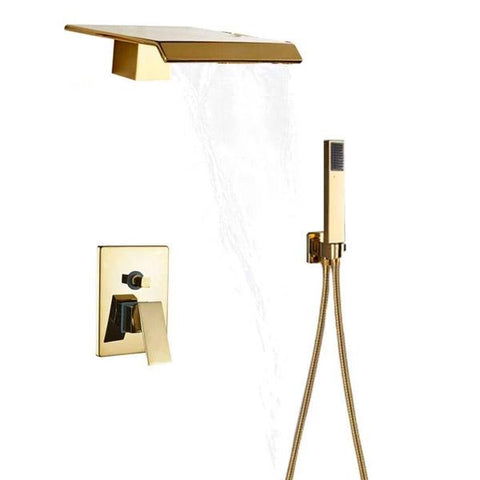 Waterfall Wall Mounted Shower System in Gold - AURA Aura FLUXURIE.COM Without tub spout