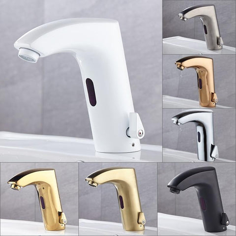 White Smart Sensor Basin Faucet with Electric Touch & Touchless Sink Basin Tap / Hot And Cold Mixer FLUXURIE.COM