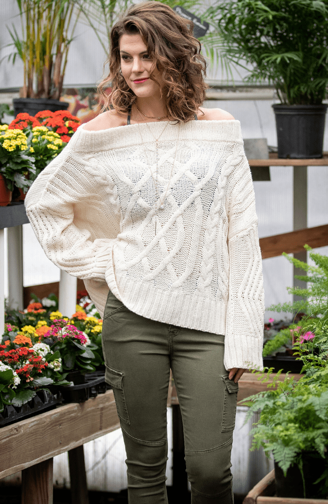 Off-The-Shoulder Wool Cable Sweater - Olive Gypsy Boutique