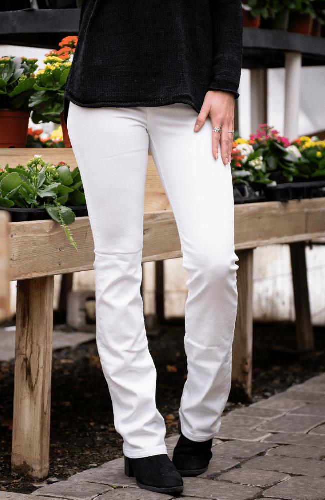 Sneak Peek White Bootcut Jeans - Olive Gypsy Boutique