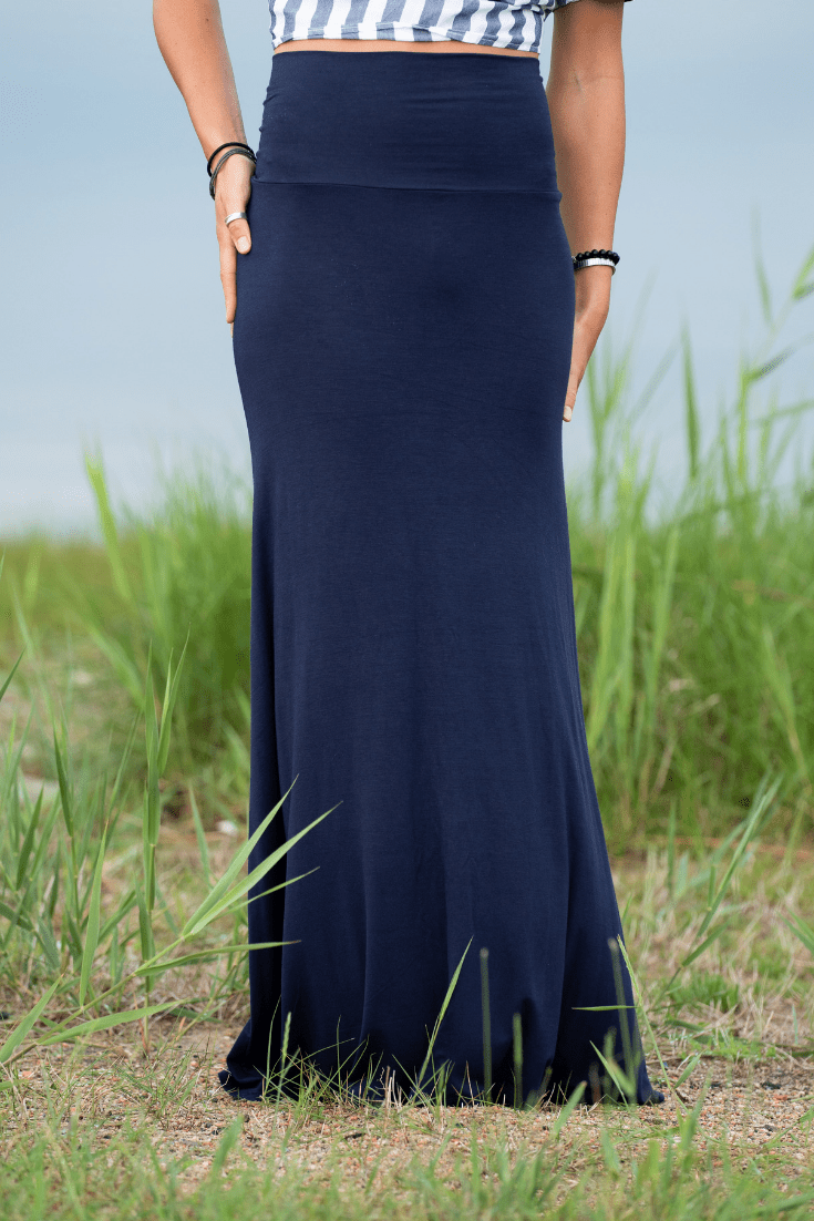 Navy Long Maxi Skirt - Olive Gypsy Boutique