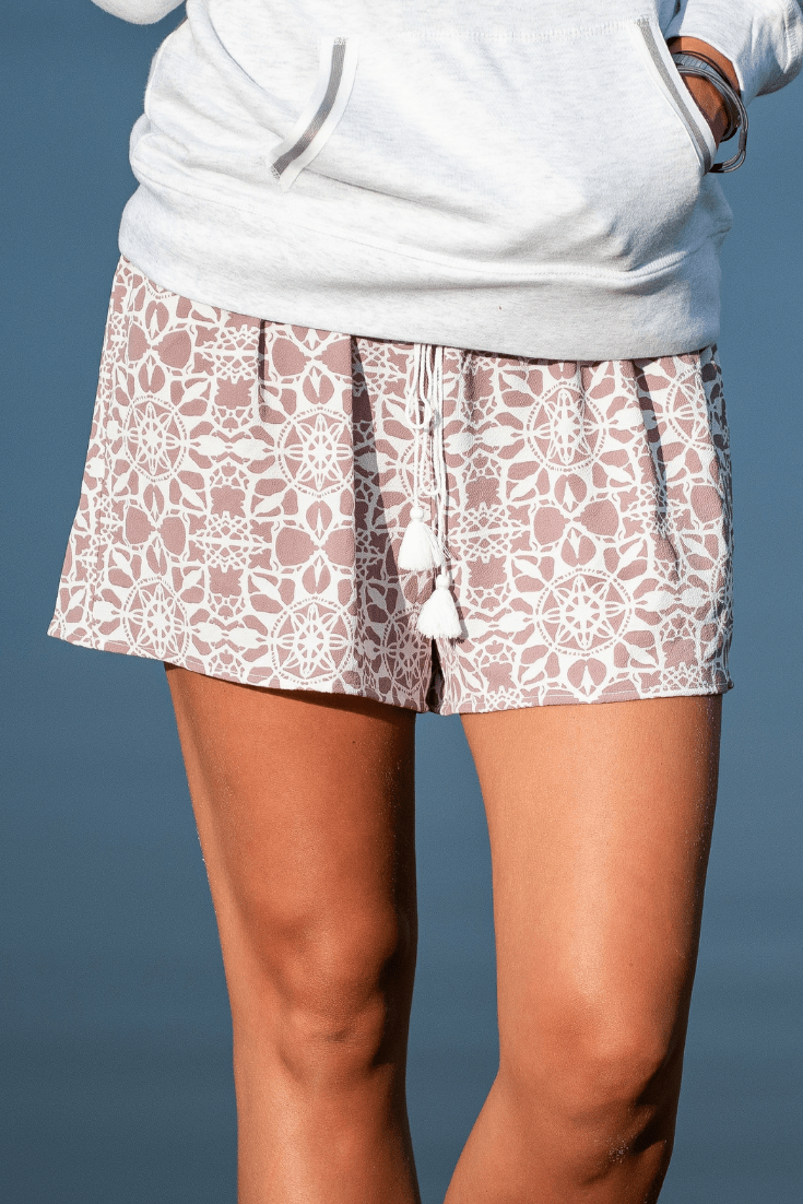 Maui Border Shorts - Orchid & Blue - Olive Gypsy Boutique
