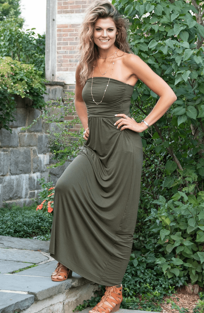 Into The Mystic Strapless Maxi Dress - Olive Gypsy Boutique