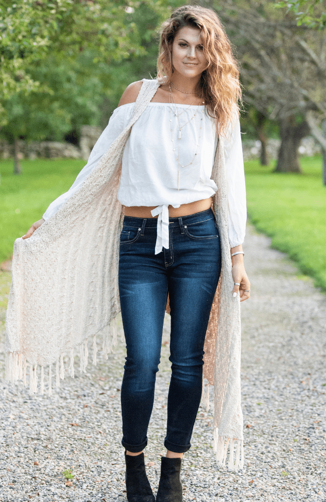 Knit Cabled Down Fringe Cardigan