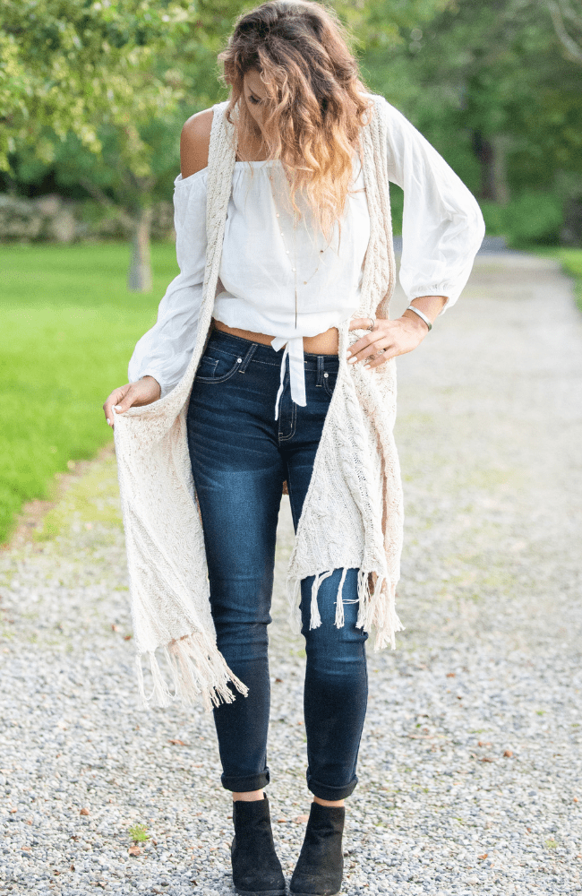 Knit Cabled Down Fringe Cardigan - Olive Gypsy Boutique