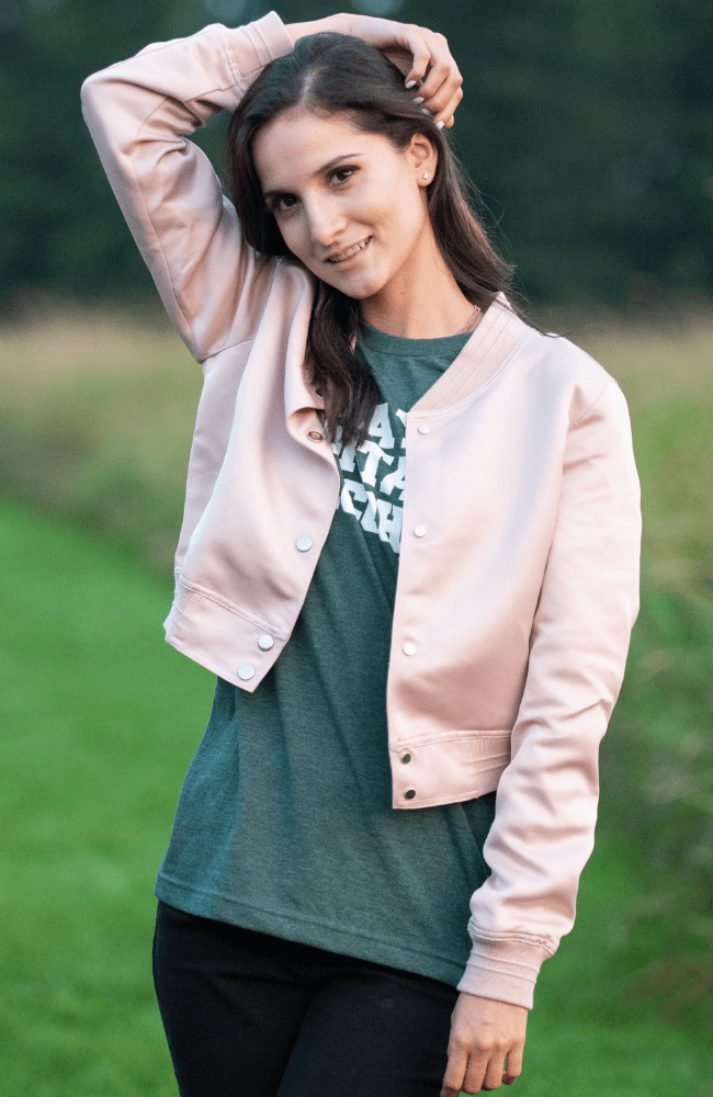 Satin Blush Bomber Jacket - Olive Gypsy Boutique