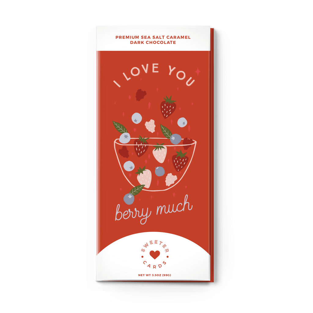 "Sweeter Cards - ""I Love You Berry Much"" Valentines Day Card with Chocolate - Olive Gypsy Boutique"