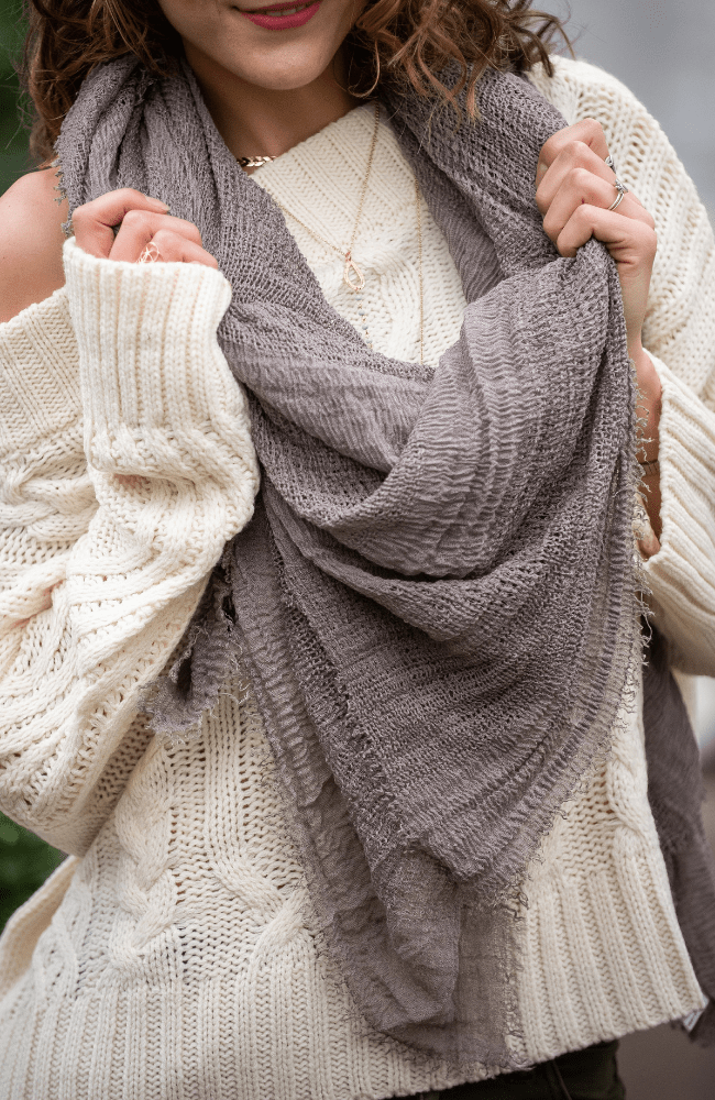 Lightweight Shredded Weave Blanket Scarf - Olive Gypsy Boutique
