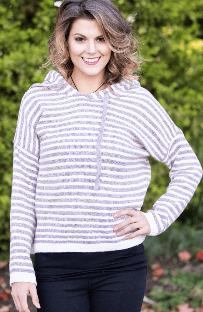 Stripe Print Long Sleeve Knit Hoodie - Olive Gypsy Boutique