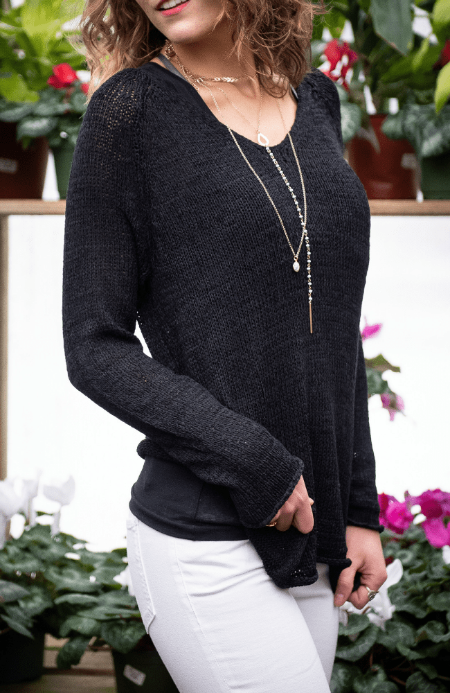 Long Sleeve Fashioned Knit V Neck Sweater