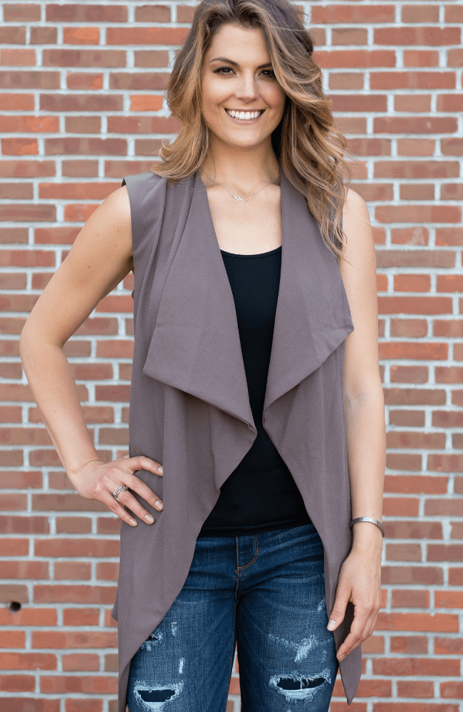 Waterfall Sleeveless Trench Vest - Olive Gypsy Boutique