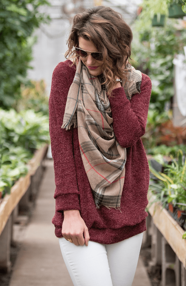 Frayed Check Scarf