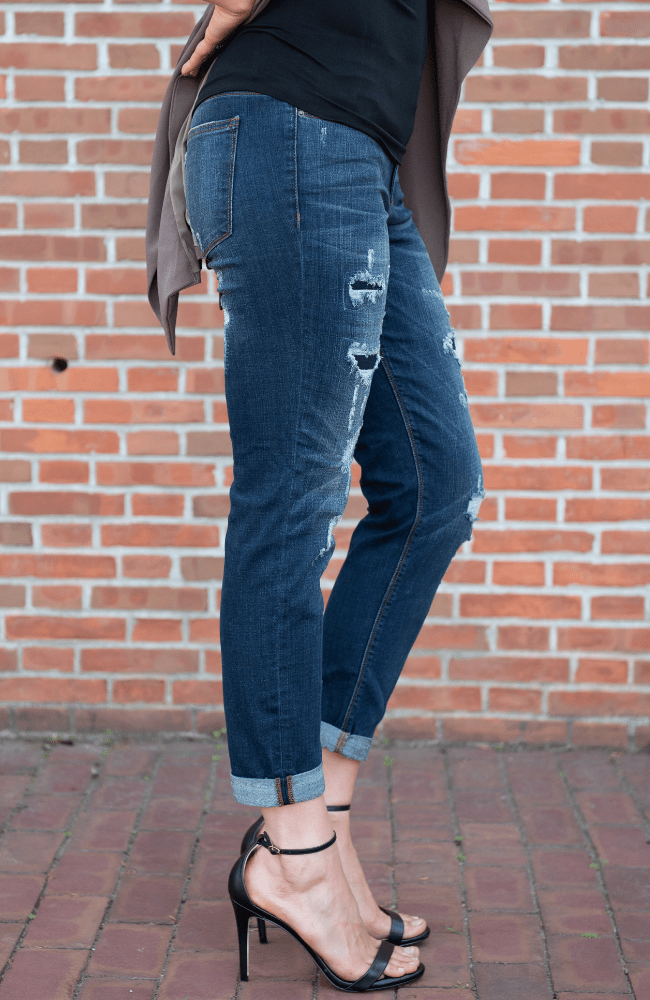 Distressed Mid Rise Boyfriend Jeans - Olive Gypsy Boutique