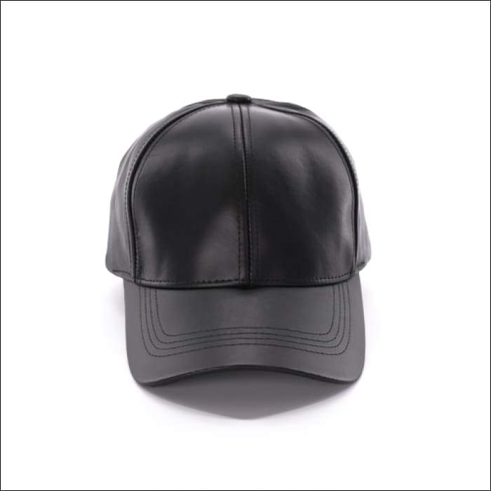 Faux Leather Baseball Cap - Black - Olive Gypsy Boutique