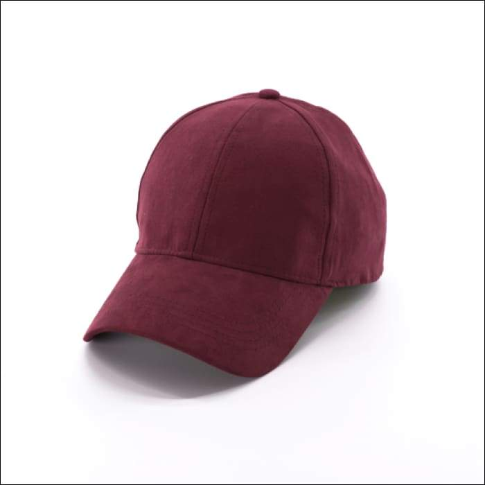 Faux Suede Baseball Cap - Burgundy - Olive Gypsy Boutique