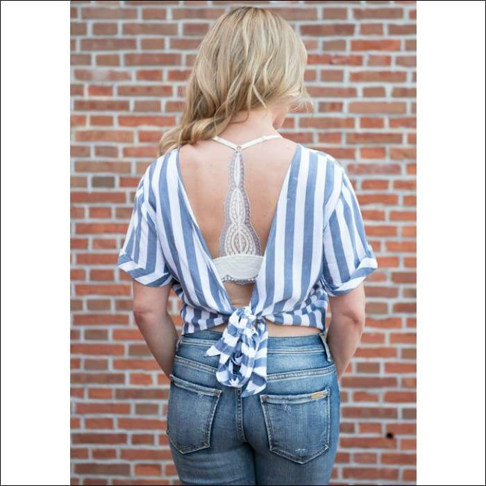 La Jolla Cropped Top With Back Tie - Olive Gypsy Boutique