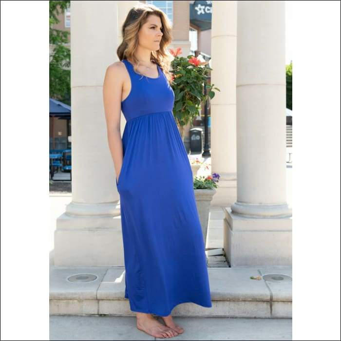 Marina Raceback Maxi Dress - Blue - Dress
