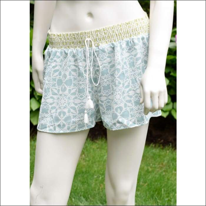 Maui Border Shorts - Blue & Lime - Olive Gypsy Boutique