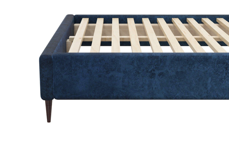 LEXIA Velvet Fabric Blue Bed Frame (Wide Bed Head) Bed Frame Bedroom Factory