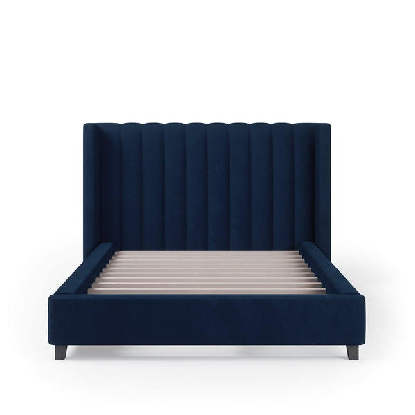 VALANCE Velvet Plush Denim Fabric Bed Frame (Australian Made)