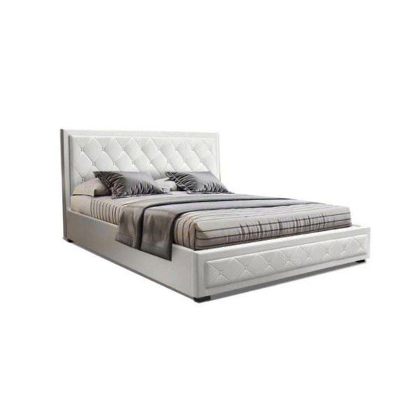 ARLA White Leather Look Gas Lift Bed Frame