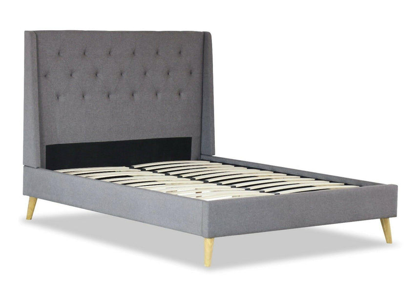 LARA Grey Fabric Bed Frame Bed Frame OH MY Mattress