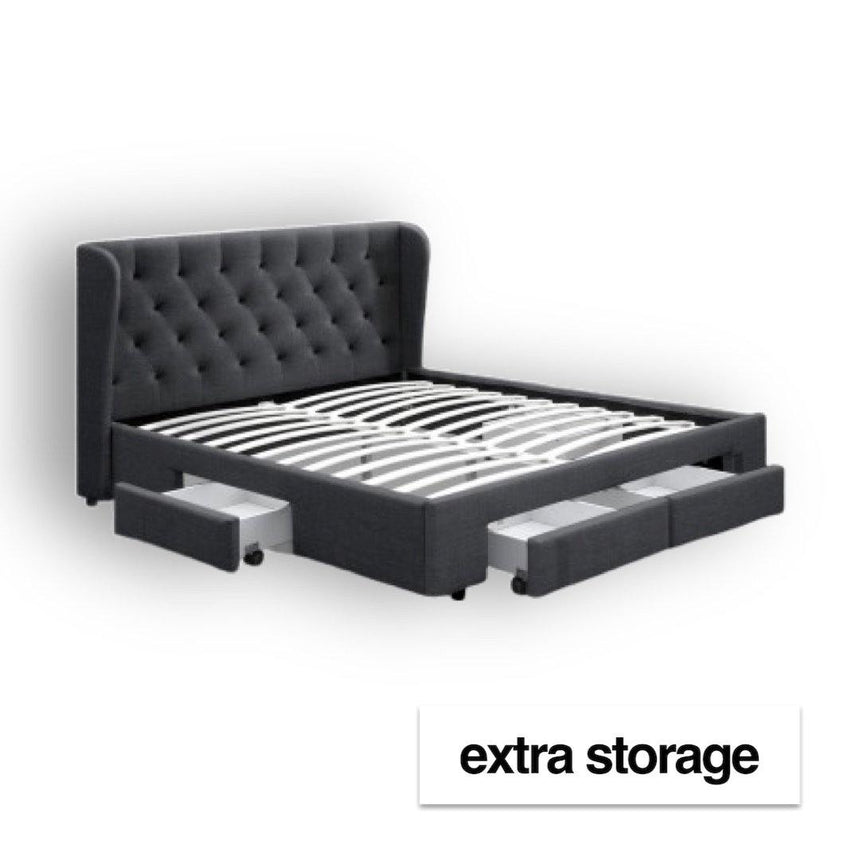 GRANDE Charcoal Fabric Storage Bed Frame Bed Frame Bedroom Factory