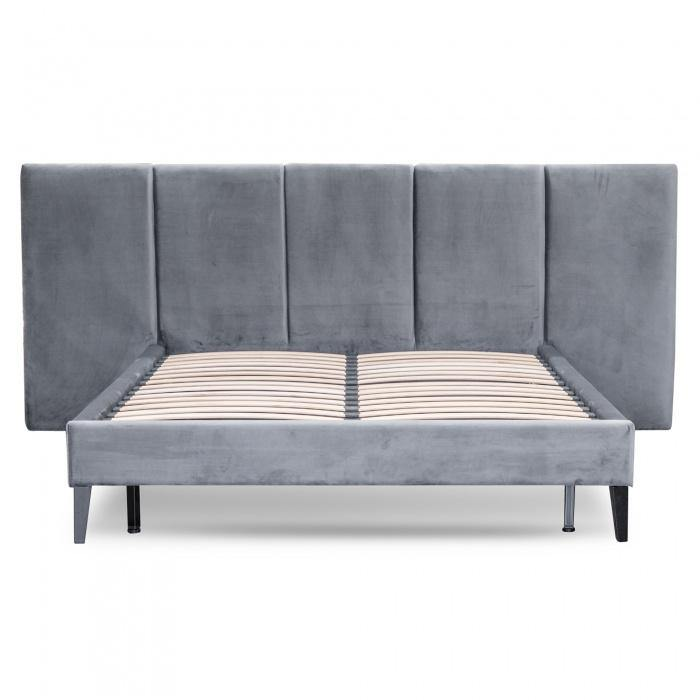 TESHA Charcoal Velvet Fabric Bed Frame