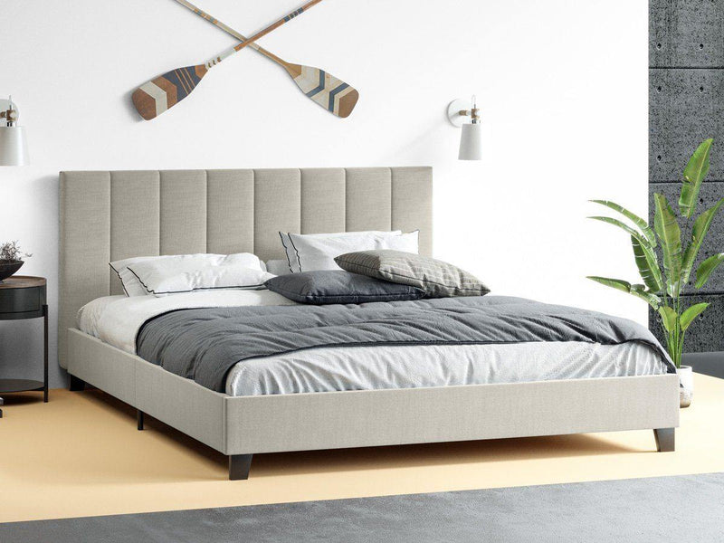 JACOB Oat Fabric Bed Frame