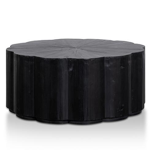 FREND round full black wood coffee table