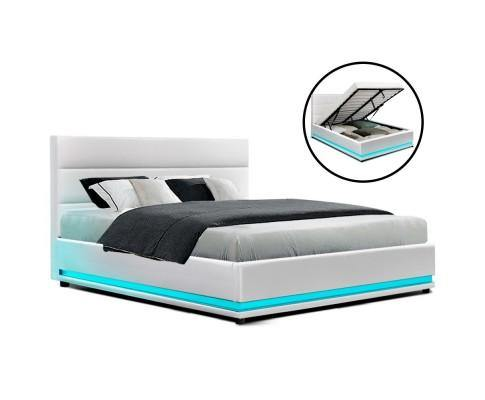 LUMA LED White Gas Lift Bed Frame Bed Frame Bedroom Factory