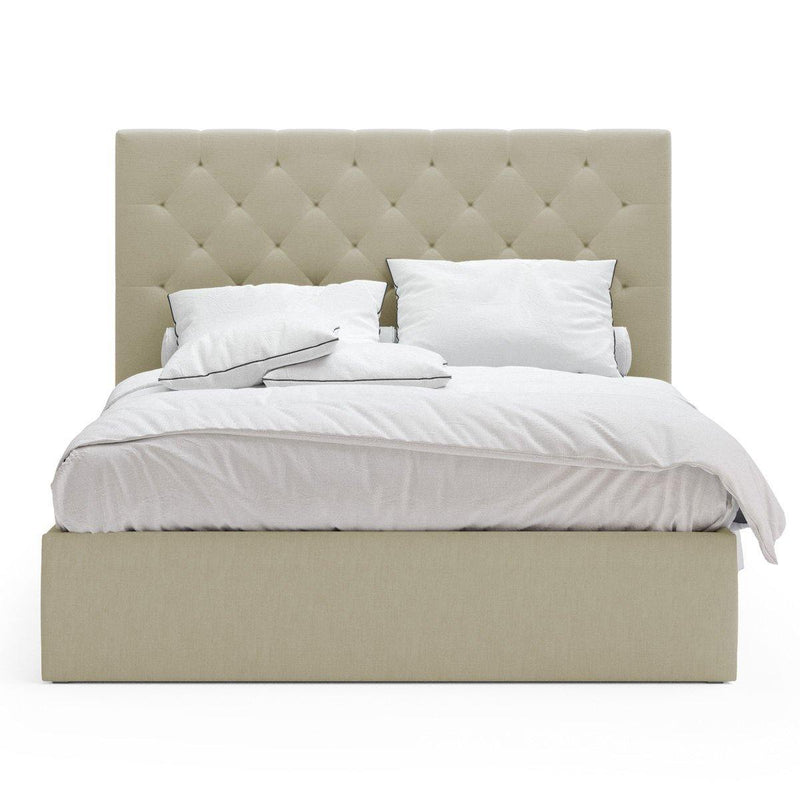 PRINCE Beige Fabric Gas Lift Bed Frame Bed Frame Bedroom Factory