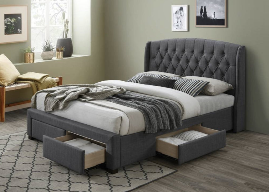 ROYAN charcoal fabric storage bed frame