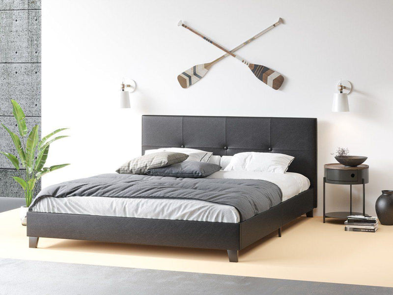 MILEY Black Leather Look Bed Frame