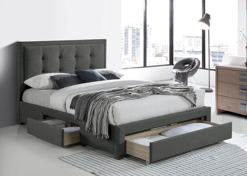 MATHEW Dark Grey Fabric Storage Bed Frame Bed Frame Bedroom Factory