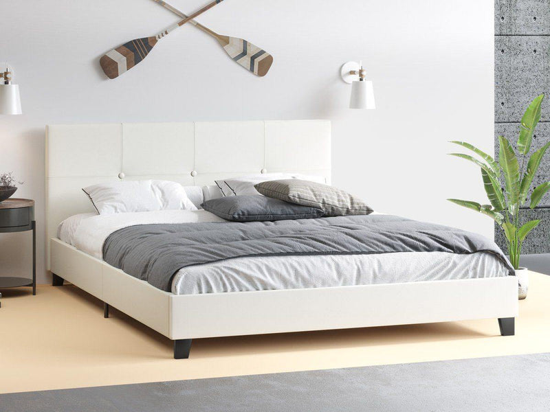 MILEY White Leather Look Bed Frame Bed Frame Bedroom Factory