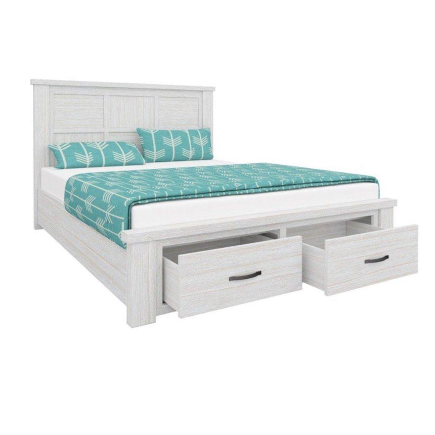 PHILIP White Wood Bed Frame Bed Frame Bedroom Factory