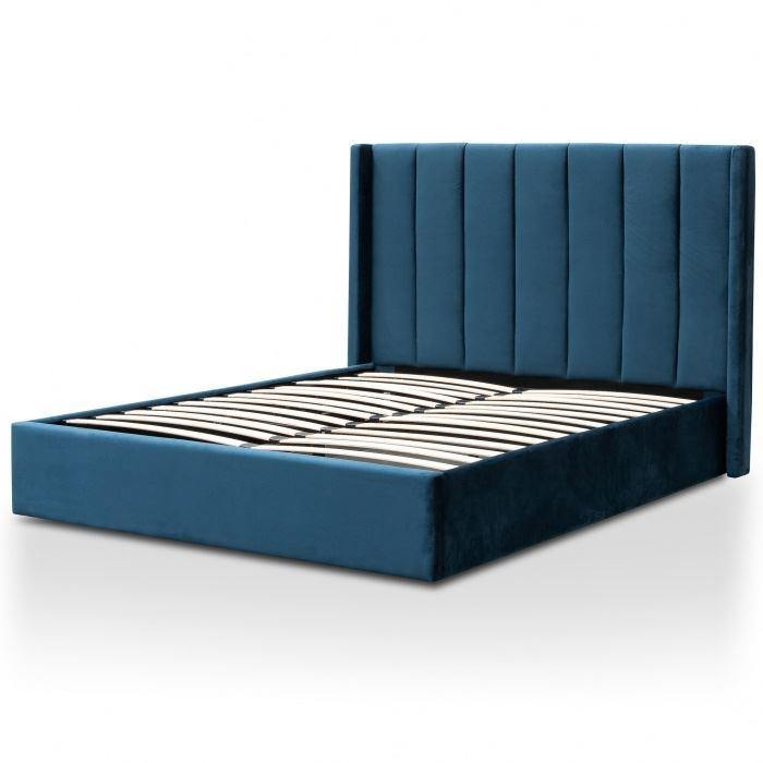 CHARLES Teal Navy Velvet Fabric Gas Lift Bed Frame Bed Frame Bedroom Factory
