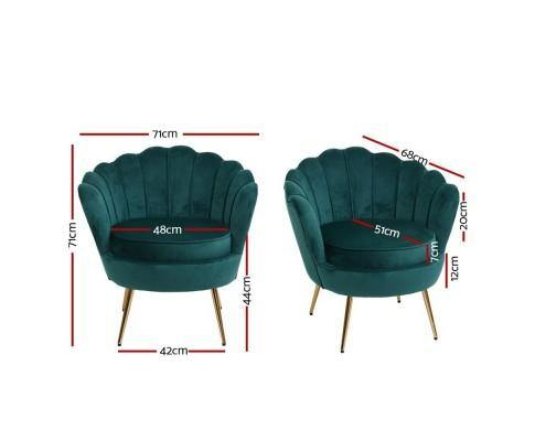 ICON Green Velvet Armchair Statement Chairs Bedroom Factory