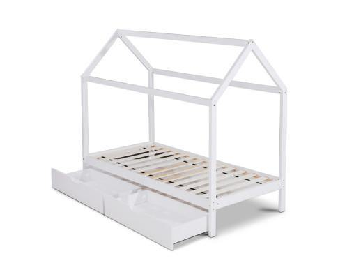 MASEY With Trundle White Wood Single Bed Frame Bed Frame Bedroom Factory
