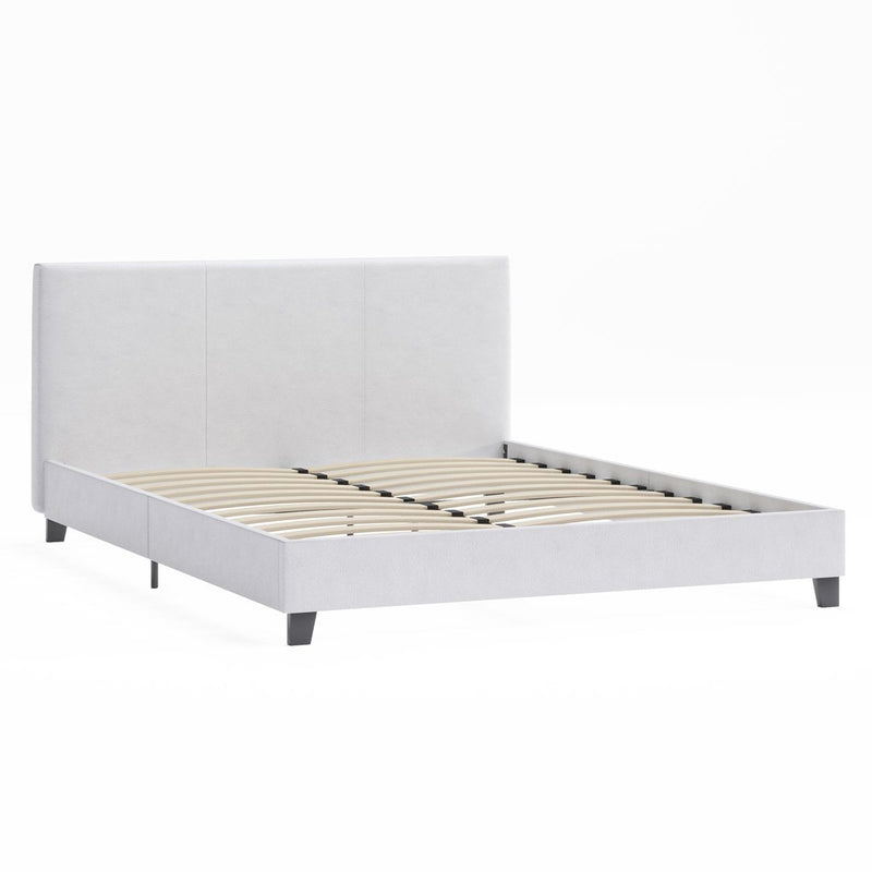 MOSES White Leather Look Bed Frame Bed Frame Bedroom Factory