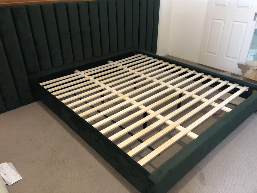 LEXIA Velvet Green Fabric Bed Frame (Wide Bed Head) Bed Frame Bedroom Factory